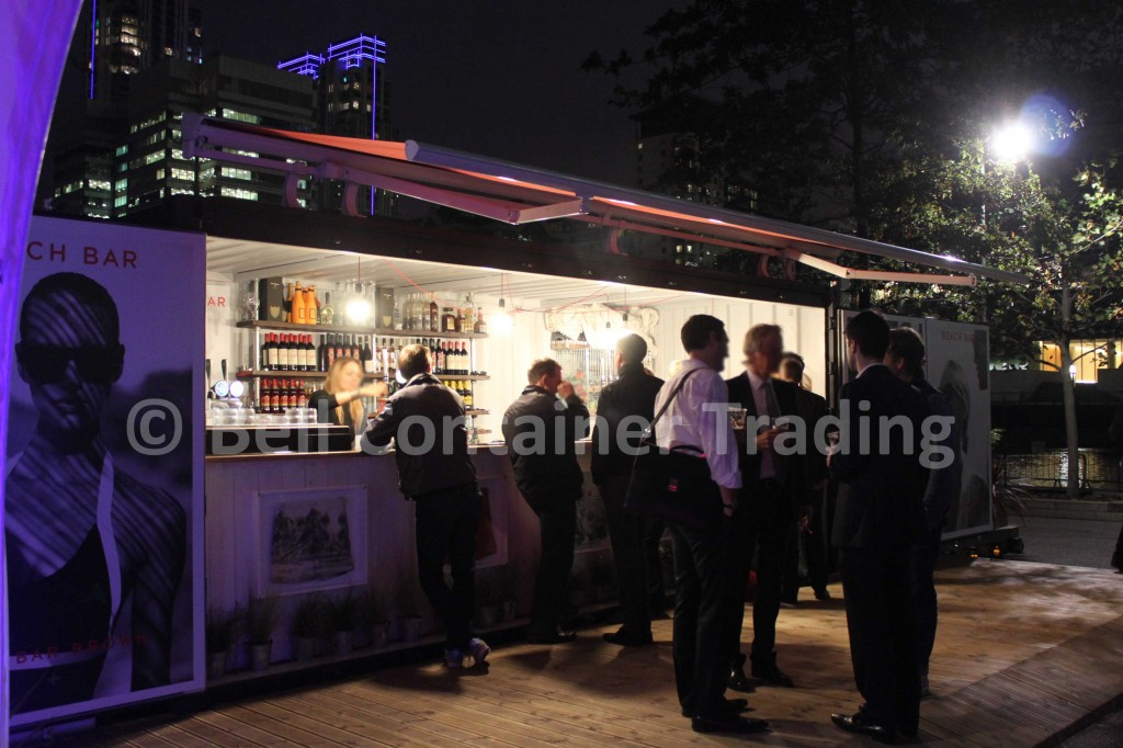 pop-up shipping container bar on-site in London