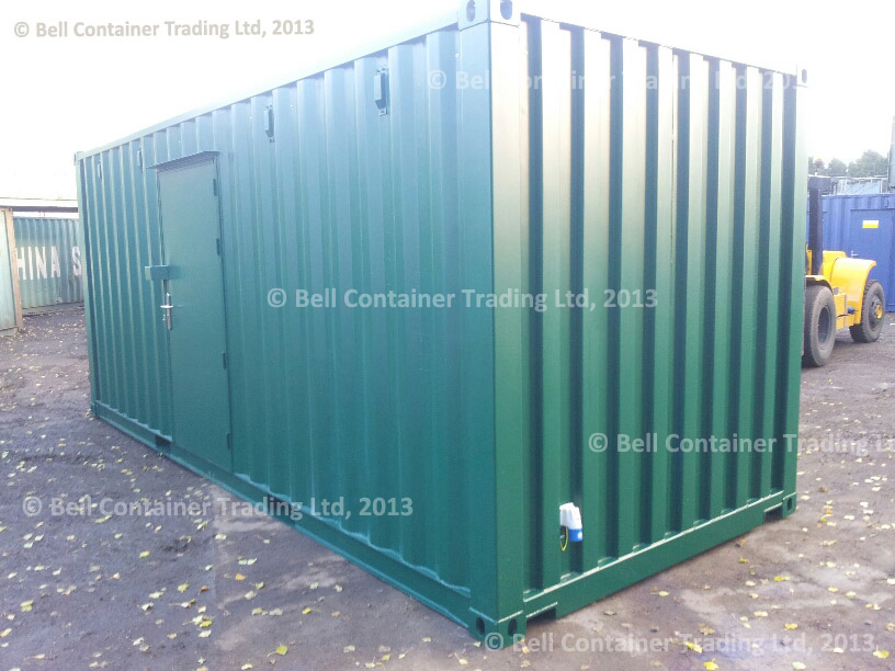 20ft container conversion (RAL 6005) exterior - archive storage