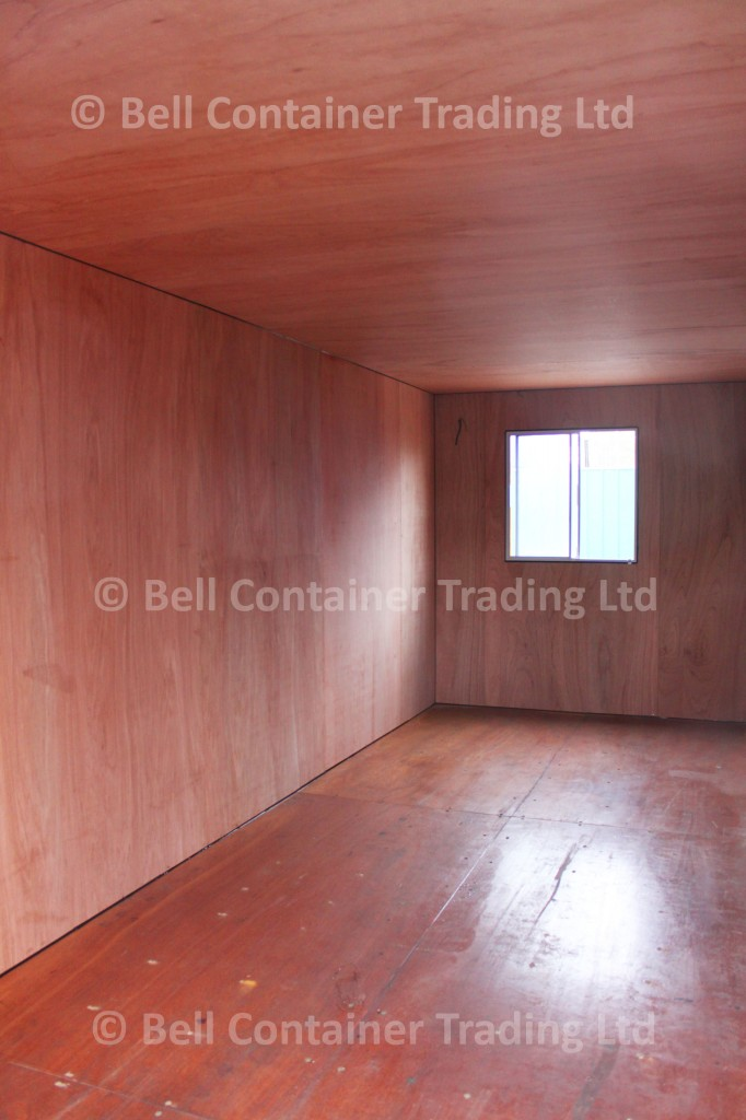 ply-lined shipping container studio